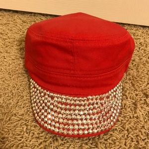 Red Rhinestone Jeweled Military Fitted Bottom Cap